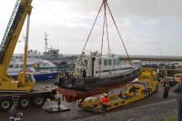 Peilboot gezonken en geborgen in Harlingen